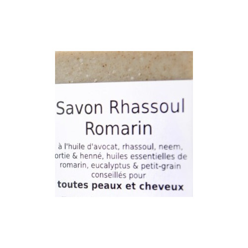 Savon 2 en 1 - SHAMPOING solide cheveux Normaux à Gras & corps - RHASSOUL ROMARIN 100 g