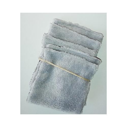 Lingettes lavables pour démaquillage en coton coton +Eponge BAMBOU gris - Lot de 5