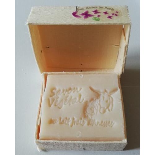 Savon Parfum doux au choix Lait d'Anesse (& Karité) avec boite en bois