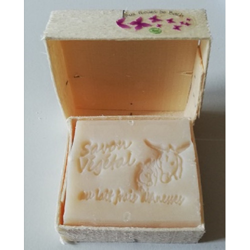 Savon Parfum Fleurs de Tiaré au Lait d'Anesse (& Karité) avec boite en bois