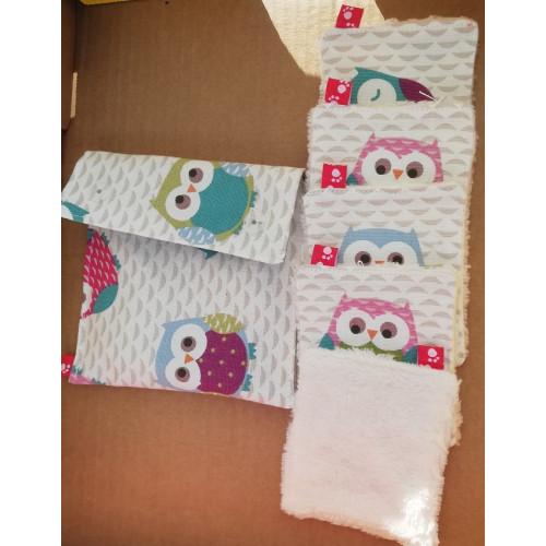 Lingette PM réutilisables en tissu coton+Eponge BAMBOU - Lot de 5