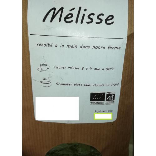 Plante séchée BIO - MELISSE - 30 g