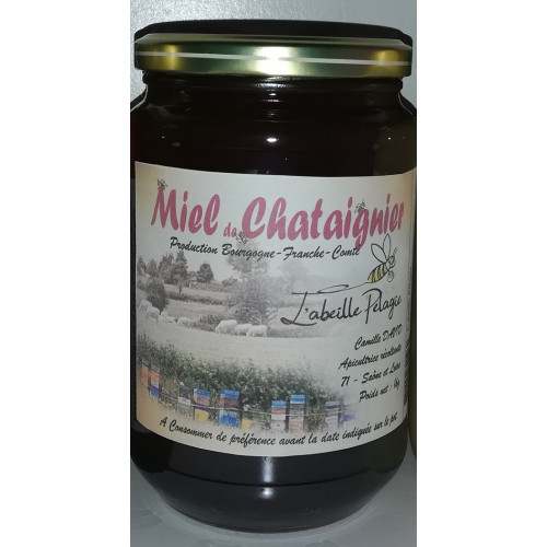 Miel de petit producteur - CHATAIGNIER en verre 1k g