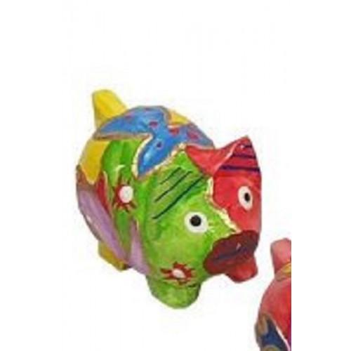 Sculpture de COCHON - Peinte à la main - motifs abstraits