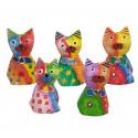 Lot de 5 Sculptures de CHAT - Peintes à la main - motifs abstraits