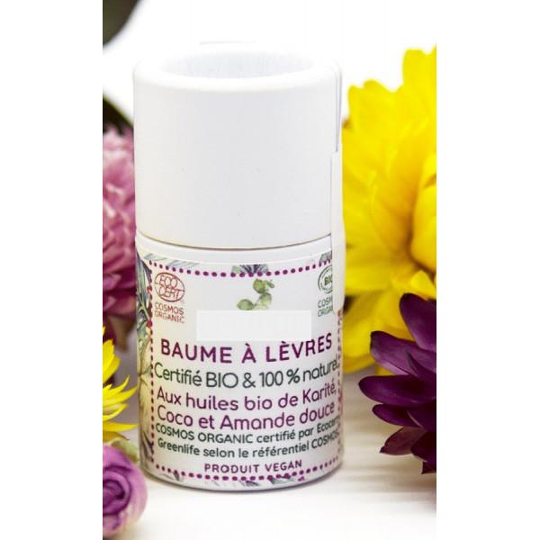 Baume à lèvres certifié Bio SANS HUILE ESSENTIELLE stick en carton 7.5 mL) - 100% artisanal - 100% fabriqué en France - Massif C