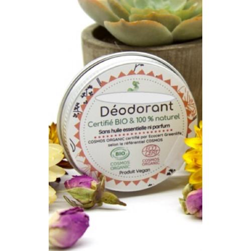 Déodorant parfum Monoï certifié Bio et vegan* 30 ml - 100% artisanal - 100% fabriqué en France - Massif Central - Auvergne - dis