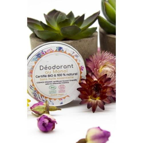 100% artisanal - 100% fabriqué en France - Massif Central - Auvergne Déodorant parfum Monoï certifié Bio et vegan* 30 ml