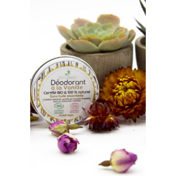100% artisanal - 100% fabriqué en France - Massif Central - Auvergne Déodorant certifié Bio* et vegan à la Vanille