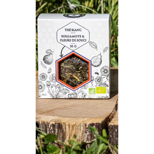 BESTSELLER Les Abeilles de Malescot THÉ BLANC BERGAMOTE &FLEURS DE SOUCI BIO3%), arôme naturel 30 g