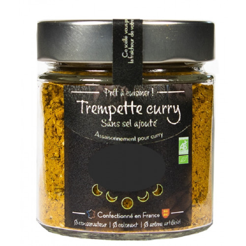 Epices CURRY - TREMPETTE CURRY - BIO - Flacon verrre 80 g Recettre traditionnelle indienne