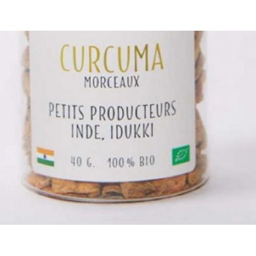 Epices - Pétales de CURCUMA d'Inde– bio - Pot en verre 40 g Curcuma longa