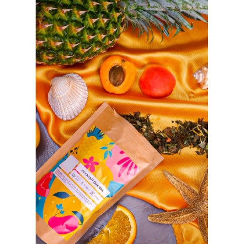 "Thé vert & Blanc ""COCKTAIL DES ILES"" - Sachet 100 g - Mangue Ananas Papaye Ecorce d'Orange Abricot"
